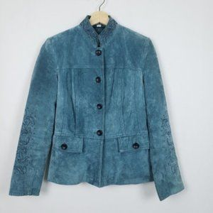 Pamela Mccoy Teal Suede Leather Jacket